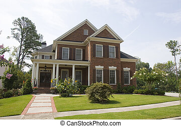 Brick House with Sunflowers