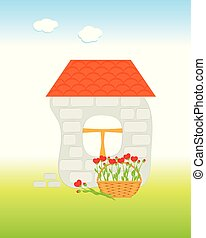 Brick house with tiled roof and basket with flowers