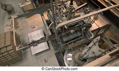 Brick industry. Top view on manufacturing facility during...