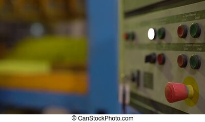 Brick industry. View of control panel at workshop, close-up