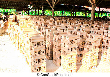brick kiln. collection set of red bricks stack in oven factory before logistic transportation