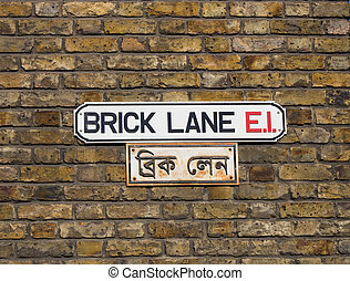 Brick lane sign in London