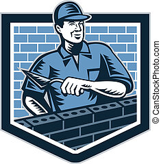 Brick Layer Mason Masonry Worker Retro - Illustration of a...