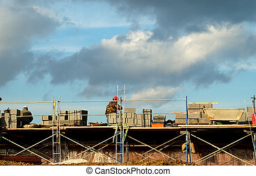 Brick Laying - Photo of Brick Laying on a Construction Site