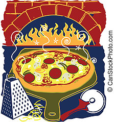 Brick Oven Pizza - Stylized art of a pizza, grater, cutter...