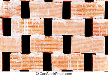 brick partition wall with holes for airflow used for roof...