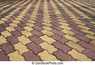 brick., pasillo, rayado