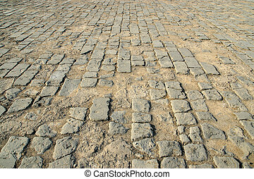brick-paved ground