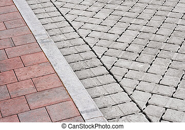brick pavement and drive - Brick paving types with pink...