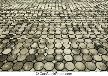 Brick pavement in a park