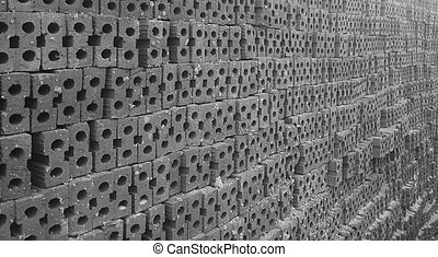 Brick Pile In Black And White Tone