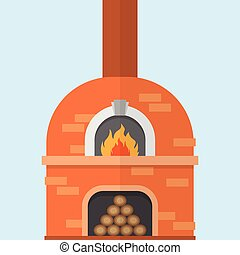Brick pizza oven with fire