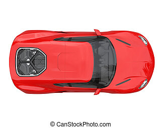 Brick red modern sportscar- top down view