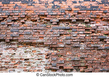 Brick red old wall