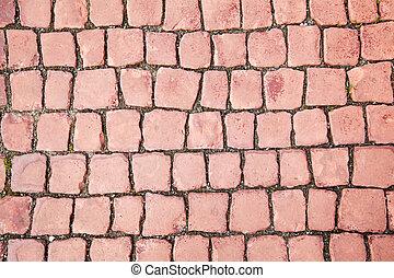 Brick red paving stone pattern