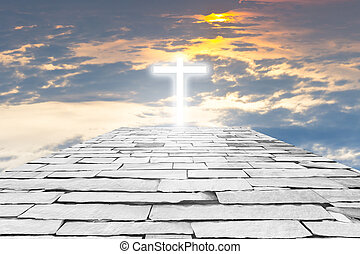 Brick road to a transparent cross giving out heavenly light ...