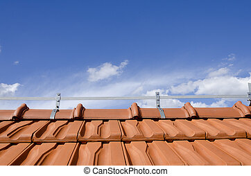 brick roof and blue sky