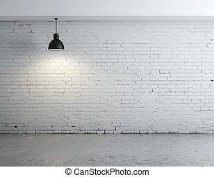 brick room - brick concrete room with ceiling lamps