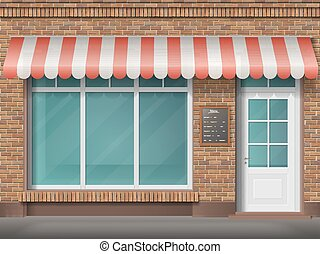 brick shop facade awning - Cafe or store front with large...
