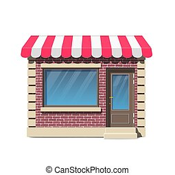Brick small store facade with awning
