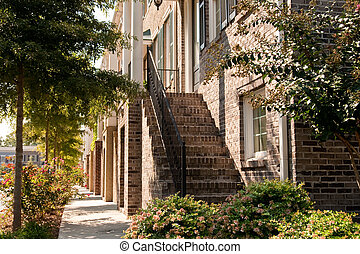 Brick Steps on Row of Townhouses