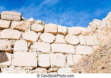 brick stone inner wall of ancient Kerak castle, Jordan