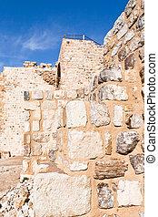 brick stone inner wall of Kerak castle, Jordan