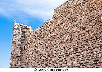 brick stone wall of Kerak castle, Jordan