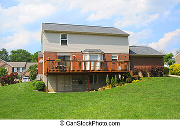 Brick Suburban Home Back Yard - Back of a Brick Suburban...