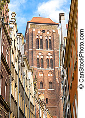 Brick tower of Basilica St Marys Church Cathedral, Gdansk, Poland