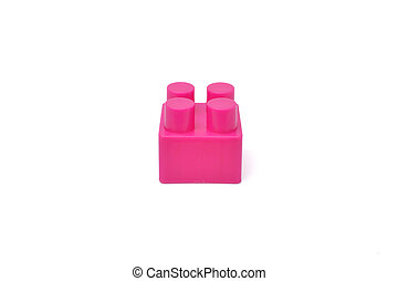 brick toy - piece of colorful brick toy isolated on white...
