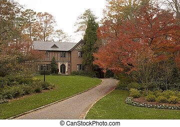Brick Tudor in Fall
