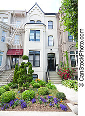 Brick Victorian Row Homes Houses Washington DC Wide Angle -...