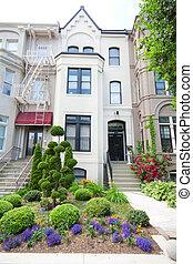 Brick Victorian Row Homes Houses Washington DC Wide Angle -...