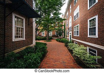 Brick walkway and buildings at Harvard Business School, in Boston, Massachusetts.