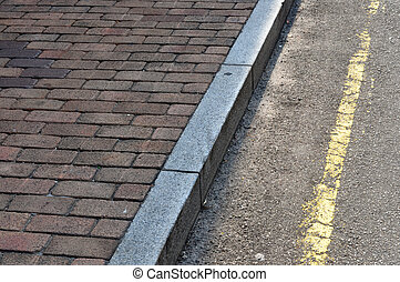 Brick Walkway Stone curb and Road; Melaka Malaysia