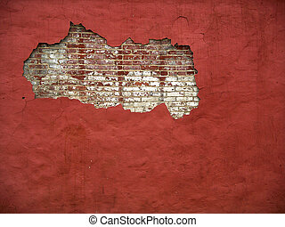 Brick Wall 3 (color) - Hole in a plastered wall, bricks ...