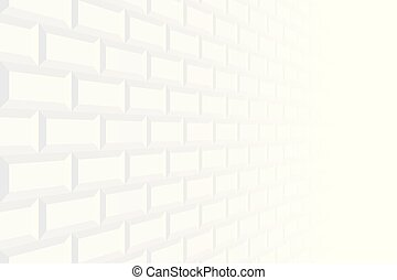 Brick wall abstract vector background with perspective. White texture