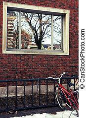 Brick wall and Bicycle