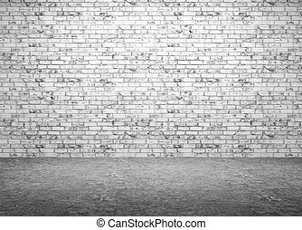 Brick wall and concrete floor interior background 3d render