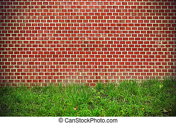 Brick wall and green grass background