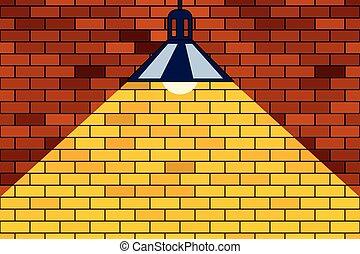 Brick wall and lamp