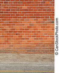 Brick wall and sidewalk - Red brick wall and sidewalk,...