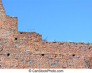 Brick wall and sky