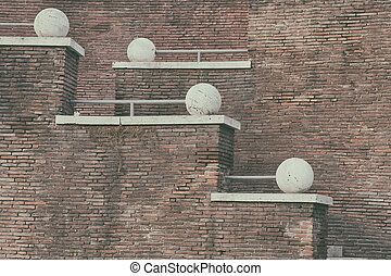 Brick wall and stairs