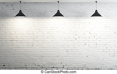three ceiling lamp - brick wall and three ceiling lamp