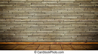 Brick wall and wooden floor.