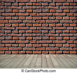 brick wall and wooden floor - red brick grunge wall and...