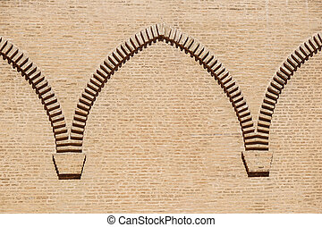 brick wall arch on the castle facade