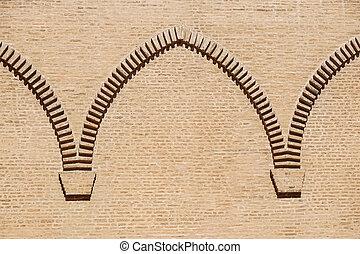 brick wall arch on the castle facade